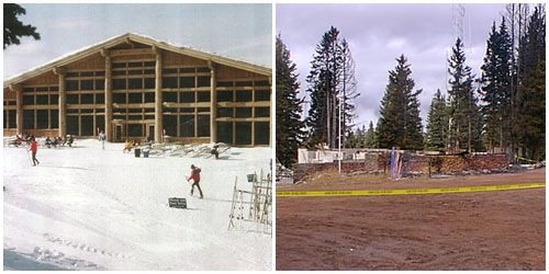 The ski resort in Vail, Colorado before and after the arson in 1998.