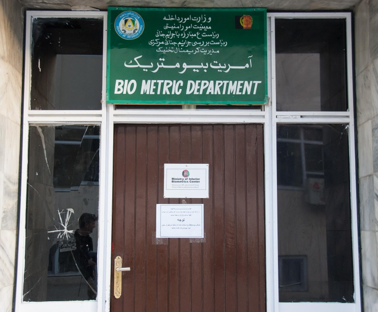 Entrance to biometrics facility at the Ministry of Interior in Kabul.