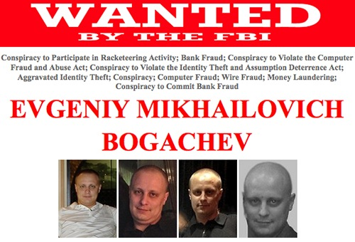 "Evgeniy Mikhailovich Bogachev, using the online monikers ""lucky12345"" and ""slavik"", is wanted for his alleged involvement in a wide-ranging racketeering enterprise and scheme that installed, without authorization, malicious software known as ""Zeus"" on victims' computers."