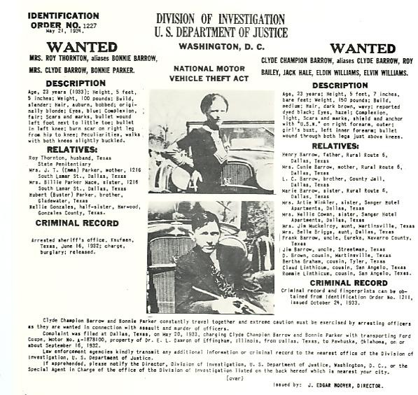 Identification Order No. 1227 for Bonnie Parker and Clyde Barrow, dated May 21, 1934.