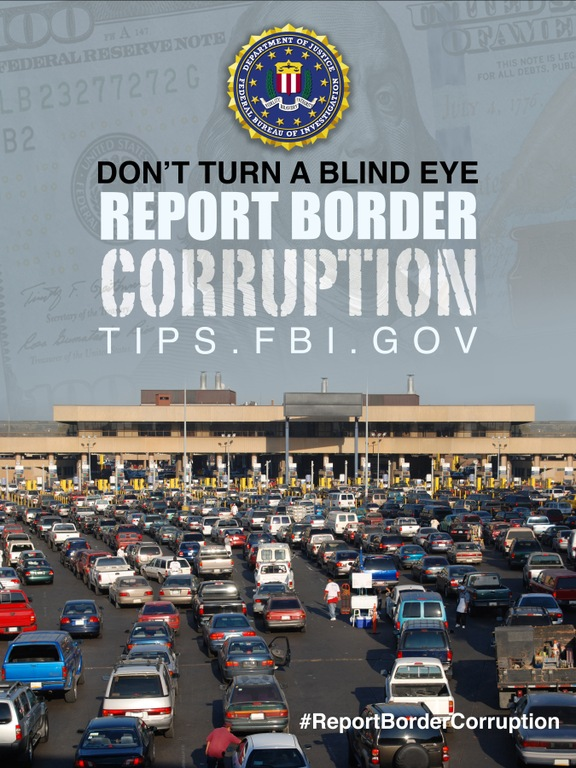 Report Border Corruption poster showing border crossing