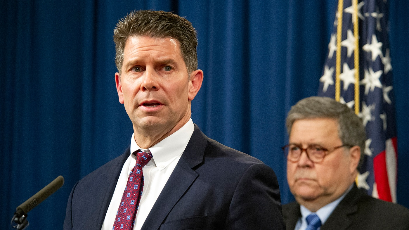 FBI Deputy Director David Bowdich and Attorney General William Barr speak at a January 13, 2020 press conference at the Department of Justice regarding the December 2019 shooting at Naval Air Station Pensacola.