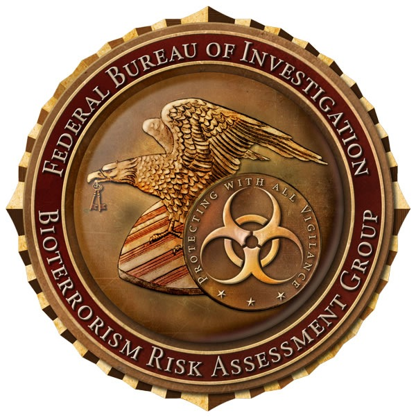 Seal of the FBI Bioterrorism Risk Assessment Group (BRAG) with motto, Protecting with all vigilance.