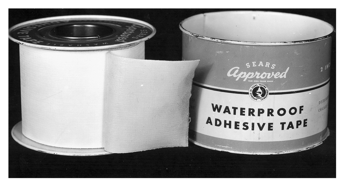 Roll of waterproof adhesive tape (used to gag and bind Brinks' employees), left at the scene of the crime in Boston at the Great Brinks Robbery on January 17, 1950, where five men hauled away $1.2 million in cash and $1.5 million in checks.