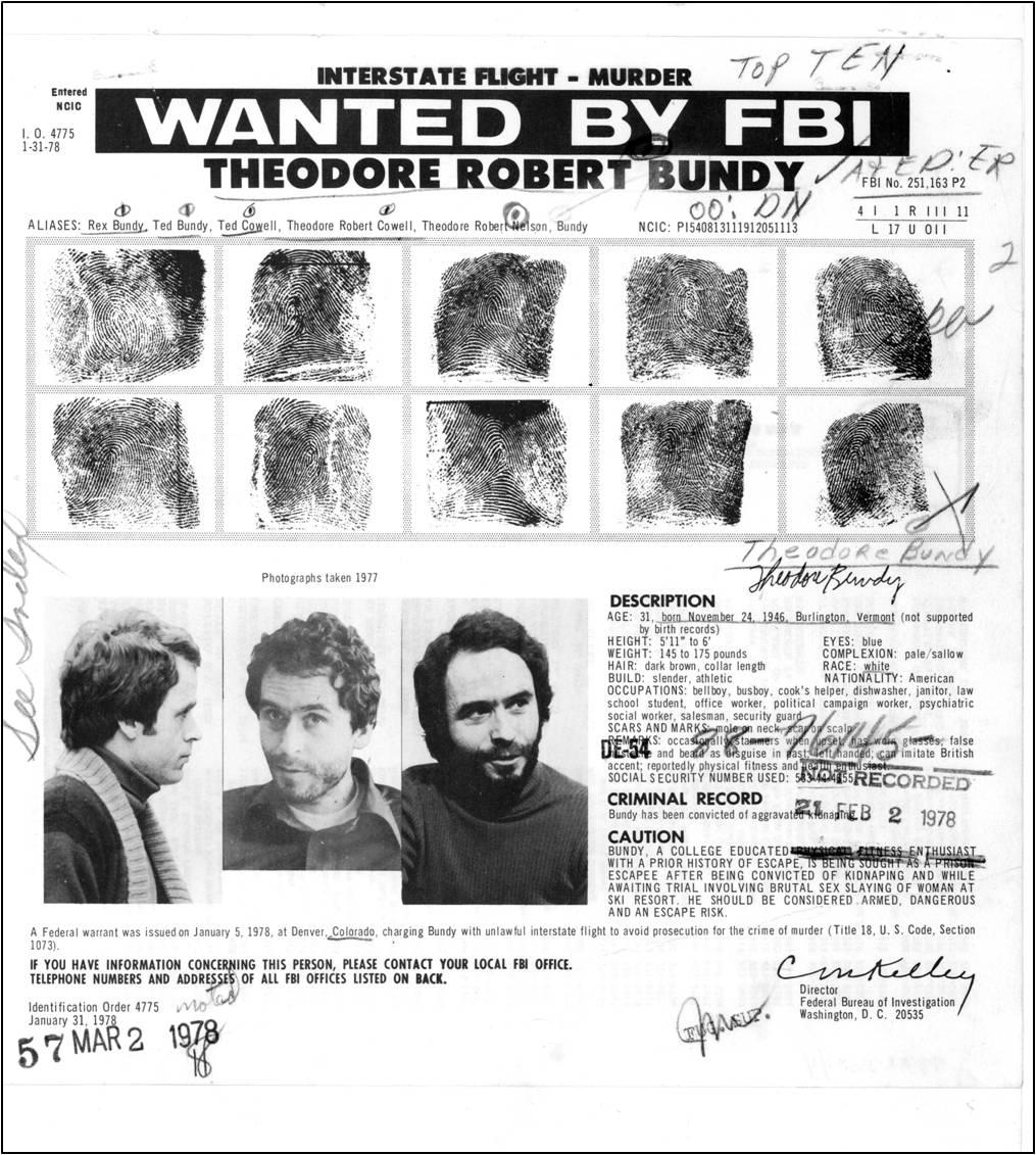 Ted Bundy fingerprints.
