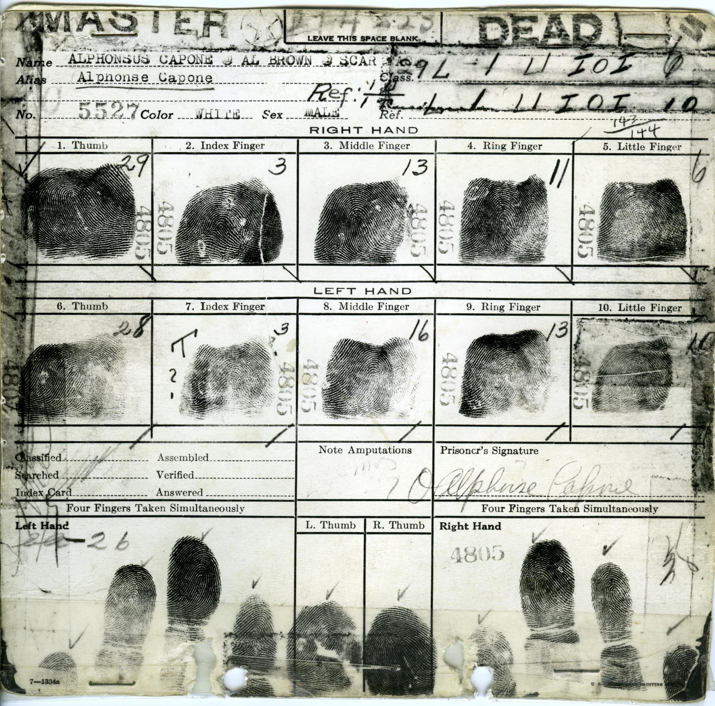 Al Capone's Fingerprint Card