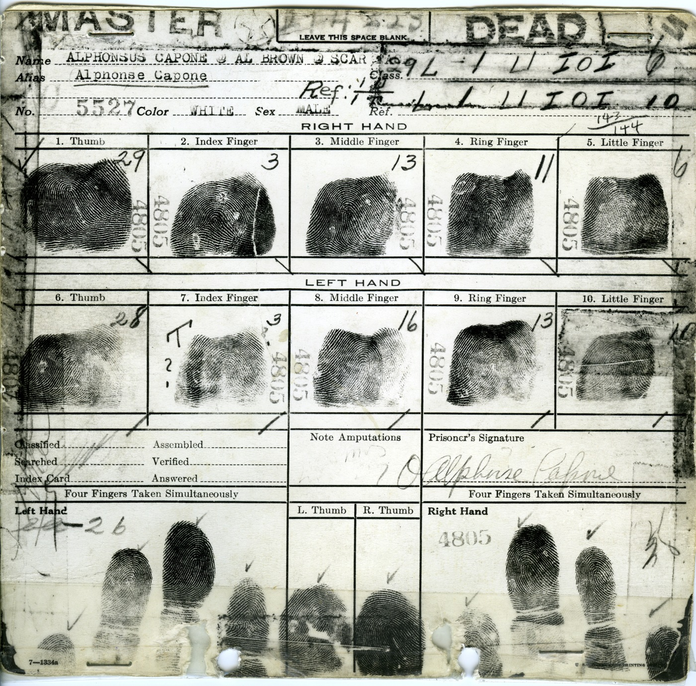 Al Capone's fingerprint card.