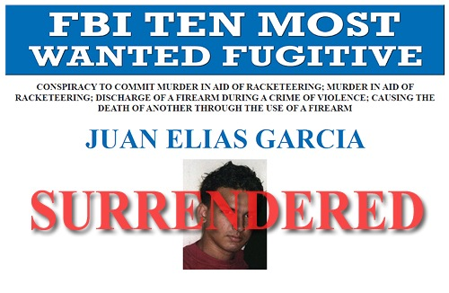 Juan Elias Garcia surrendered to authorities at the U.S. Embassy in Managua, Nicaragua on March 27, 2014. Garcia, wanted for the execution-style murder of a 19-year-old New York woman and her 2-year-old son, was named to the Ten Most Wanted Fugitives list on March 26, 2014.