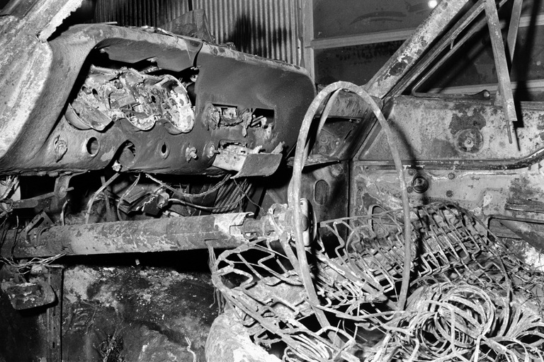 The burned interior of the station wagon that was discovered following the disappearance of activists Michael Schwerner, James Chaney, and Andrew Goodman in Mississippi in 1964.