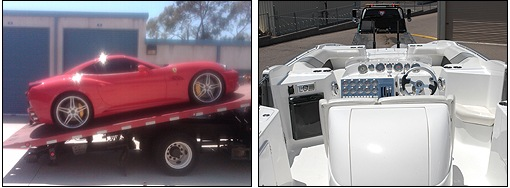 Depiction of a car and boat seized in an investigation.