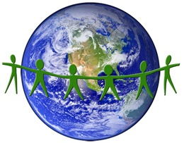 Globe with People Holding Hands Across It (Stock Image)