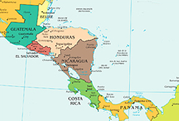 A visual depiction of the countries of Central America, located between North America and South America.