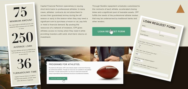 Composite image showing portions of the website that former NFL player Will Allen and former bank executive Susan Daub used to run their Ponzi scheme.