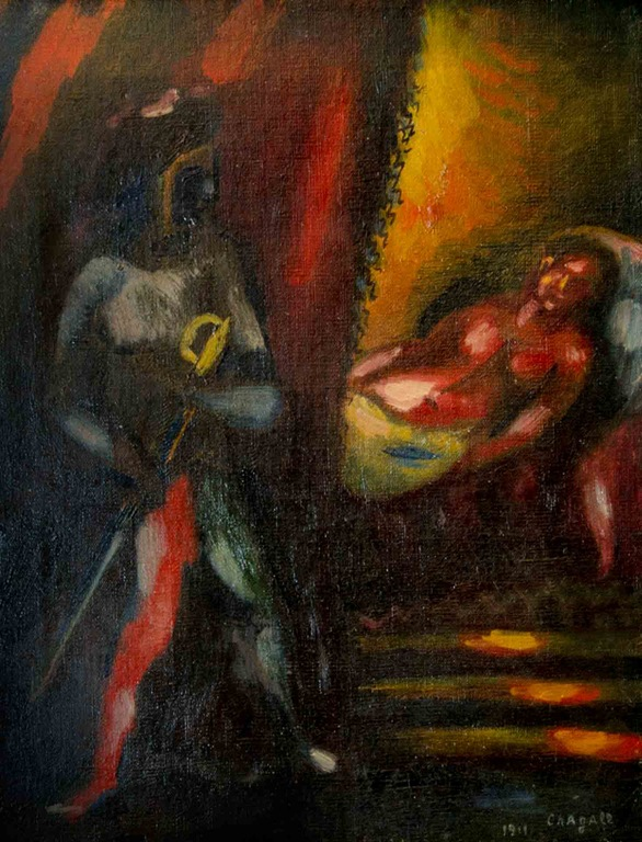 Detailed photograph of Marc Chagall's 1911 painting Othello and Desdemona, which was returned to the owners' estate nearly 30 years after it was stolen.