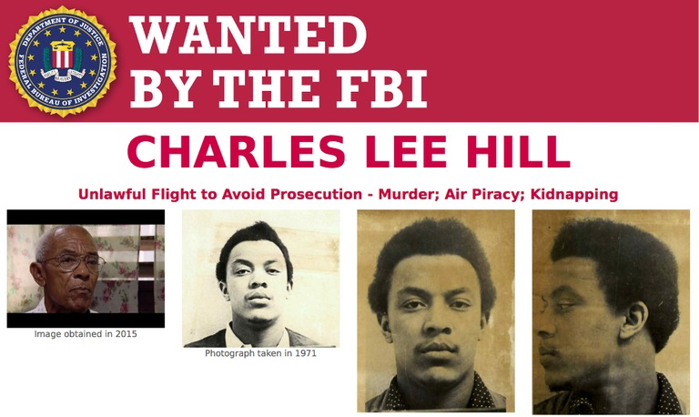 Screenshot of top portion of Wanted by the FBI poster for Charles Lee Hill