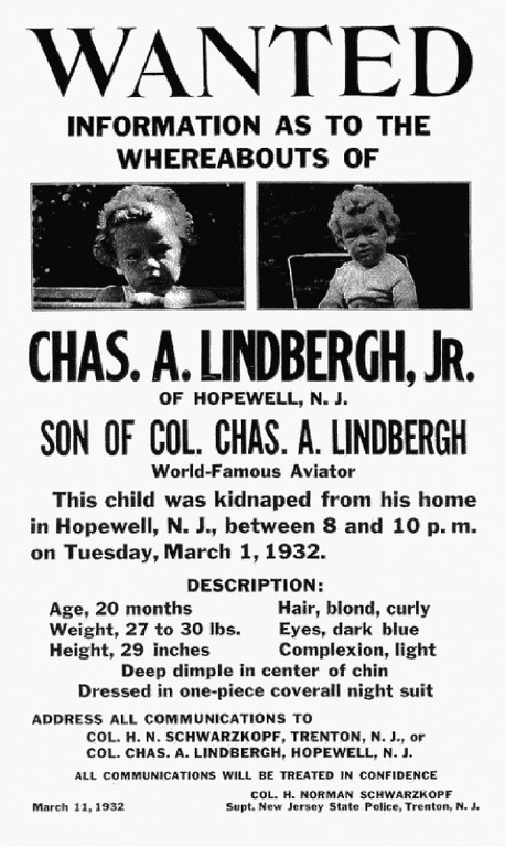 Lindbergh Baby Wanted Poster
