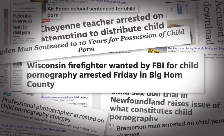 Collage of Newspaper Headlines on Child Pornography