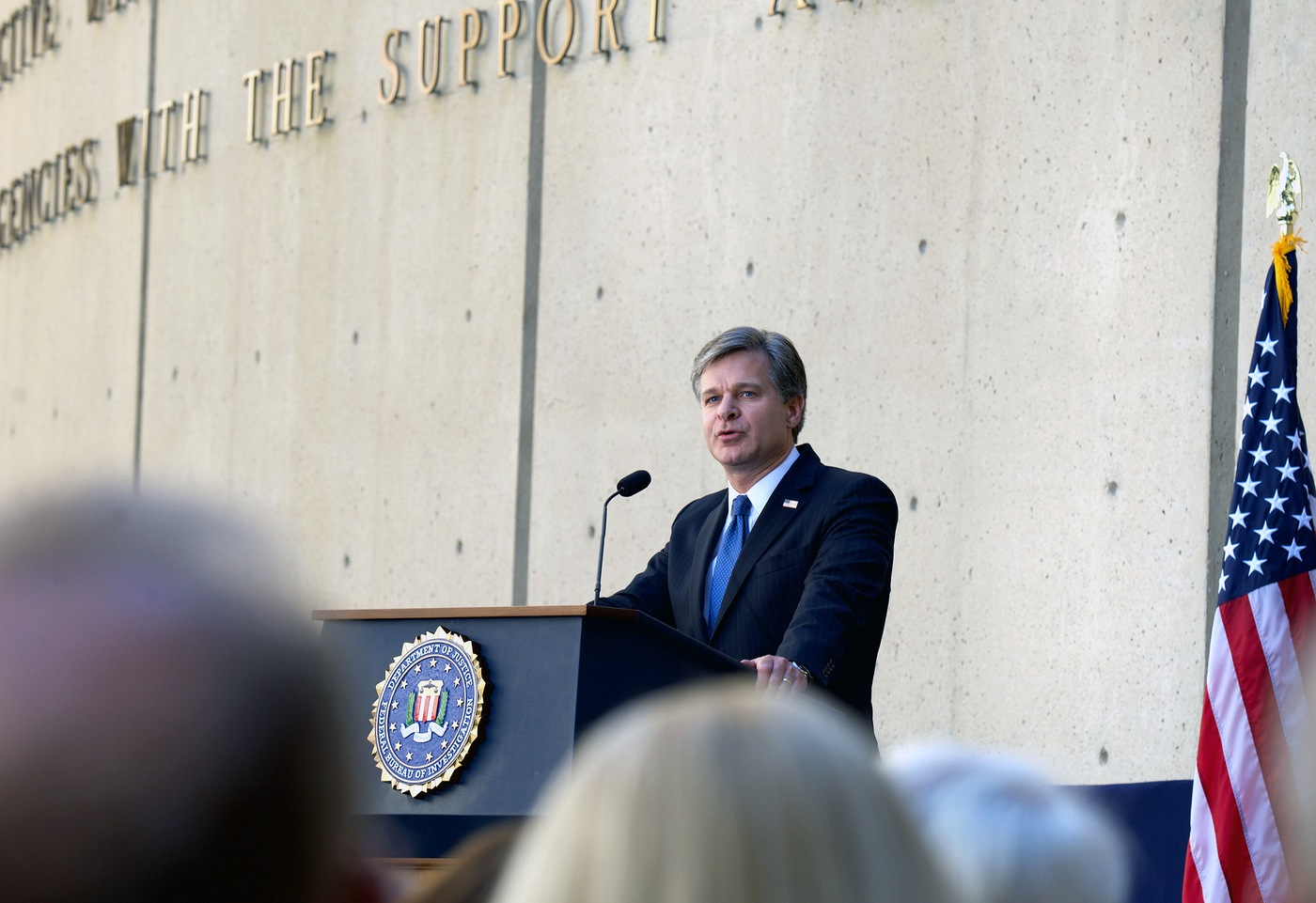 Christopher Wray speaks at the ceremony marking his formal installation as the eighth Director of the FBI at FBI Headquarters in Washington, D.C. on September 28, 2017.