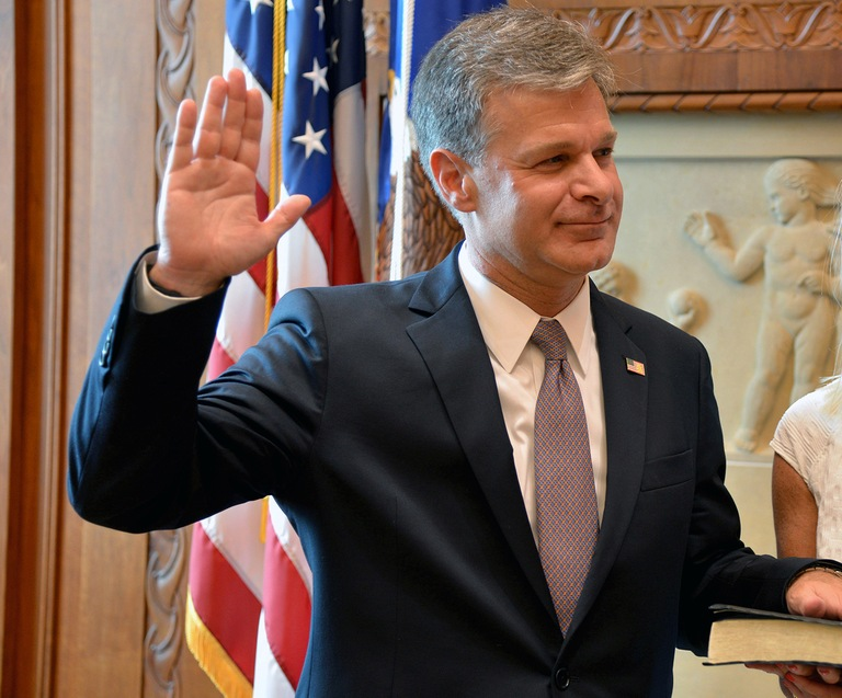 Christopher Wray is sworn in as the eighth Director of the FBI at the Department of Justice on August 2, 2017.