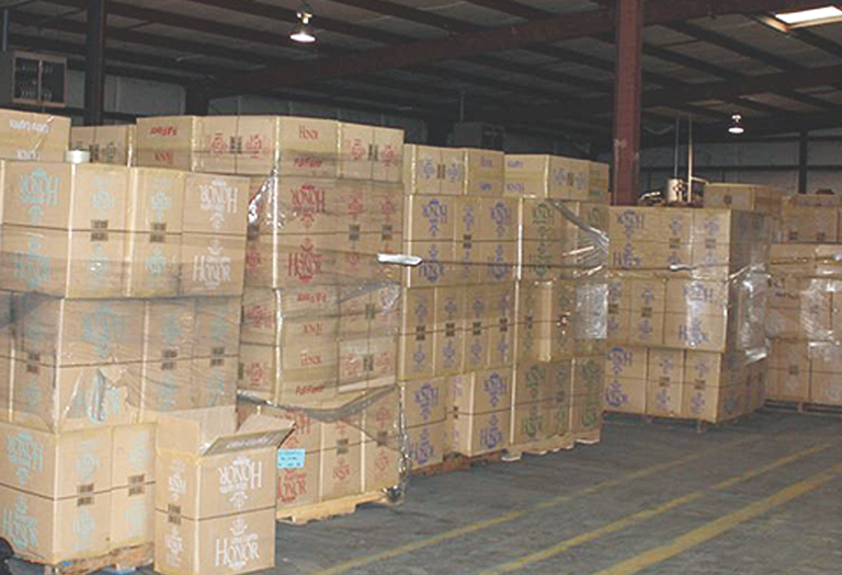 Boxes of seized contraband cigarettes in a Mississippi warehouse.