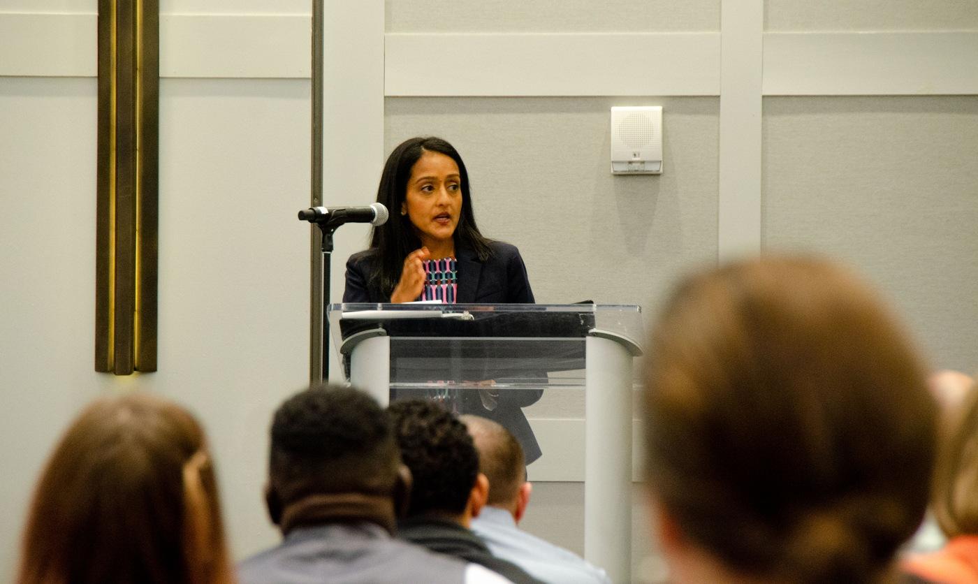 Associate Attorney General Vanita Gupta speaks at an FBI civil rights conference in Denver on June 9, 2021.