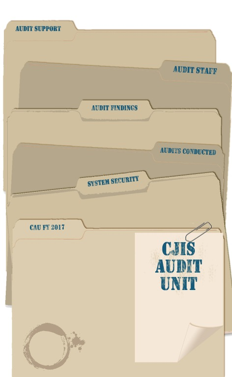 Graphic depicting stack of file folders from the CJIS Audit Unit. From CJIS Link article.