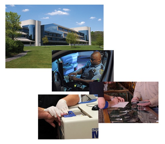 Photo collage for article on 20th anniversary of Criminal Justice Information Services Divison (from CJIS Link article).