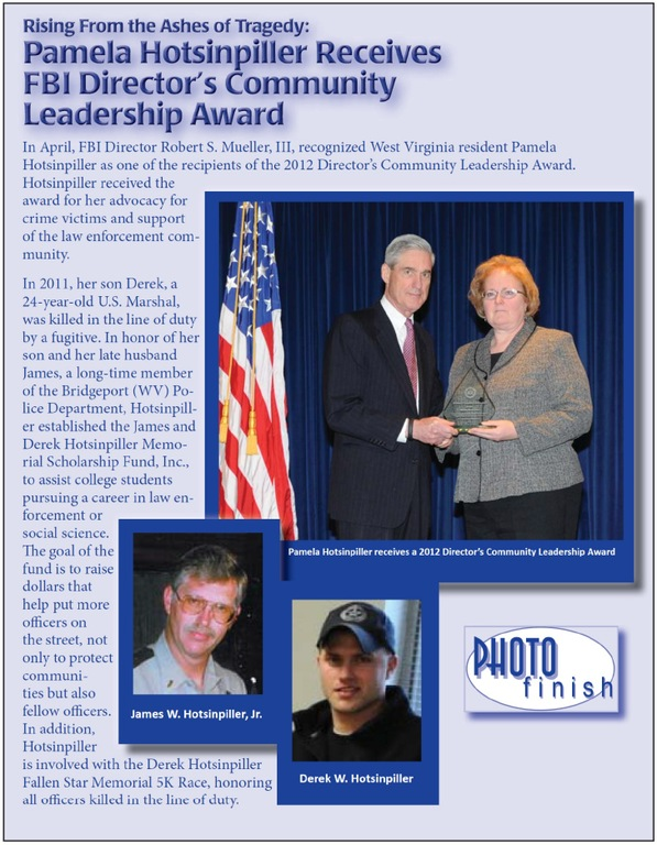 Pamela Hotsinpiller was the CJIS Division's 2012 recipient of the Director's Community Leadership Award (from CJIS Link article).