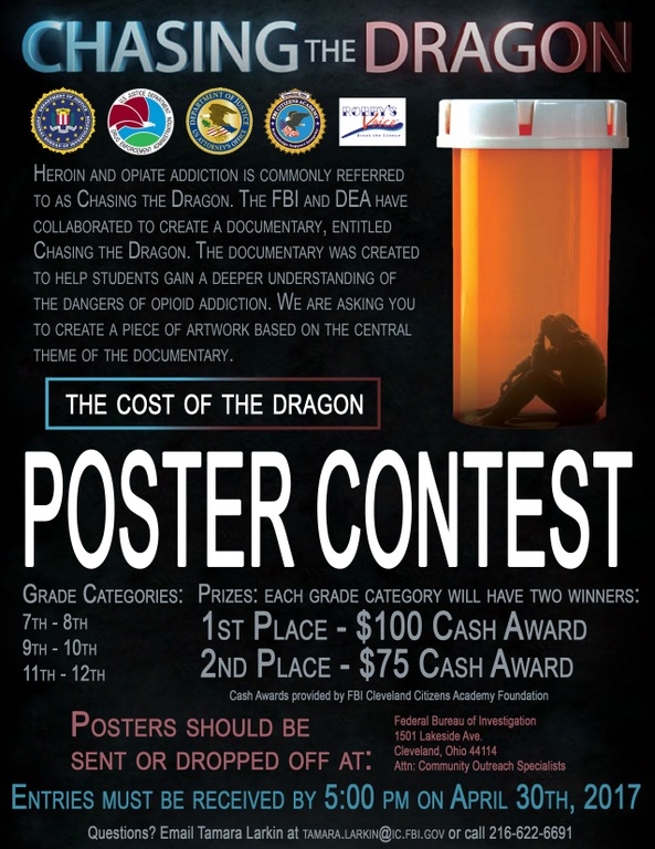 The Cleveland Division and its partners announce a poster contest for area 7th through 12th graders regarding heroin and opiate addiction based on the documentary Chasing the Dragon. The deadline for submissions is April 30, 2017.