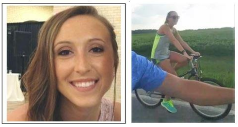"The FBI in conjunction with the Fulton County Sheriff's Office is requesting the public's help in the suspicious disappearance of 20 year old, Sierah Joughin. Sierah was last seen in the area of the Evergreen School District at approximately 6:45p.m.on Tuesday, July 19, 2016.  Sierah was wearing shorts and a neon yellow tank top and riding a purple bicycle.  The bicycle was located along County Road 6 in the Evergreen School District.   Sierah is described as a white female, approximately 5'5"", 130 pounds, brown eyes and long brown hair (reaching to her mid back area)."