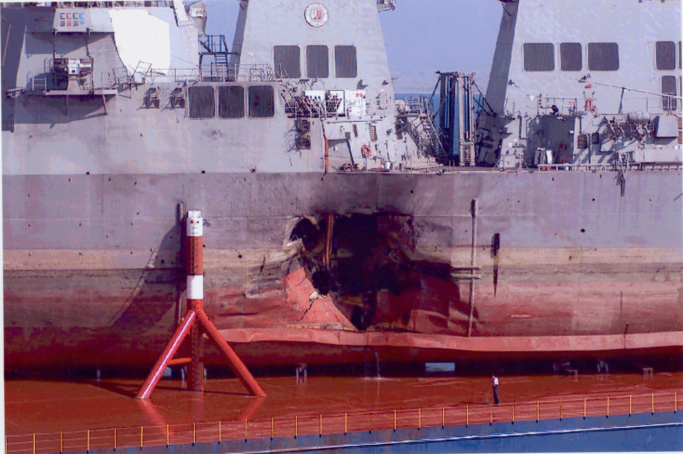 The USS Cole, a Navy guided missile destroyer, following the suicide attack in the port of Aden, Yemen on October 12, 2000.