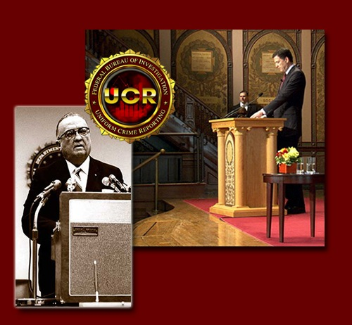 J. Edgar Hoover and James Comey are shown in two separate photos delivering speeches with UCR seal in foreground All FBI Directors rely on UCR data. (From CJIS Link article).
