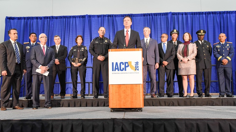 FBI Director James Comey, along with law enforcement partners, announces the results of Operation Cross Country X at press conference in San Diego, California on October 17, 2016.