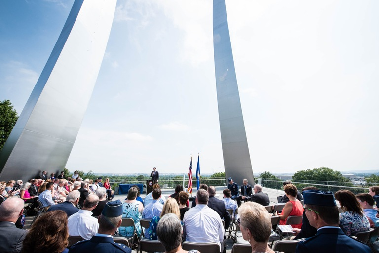 FBI Director James Comey speaks during a July 1, 2016 ceremony at the United States Air Force Memorial in Arlington, Virginia commemorating the 20th anniversary of the Khobar Towers bombing.