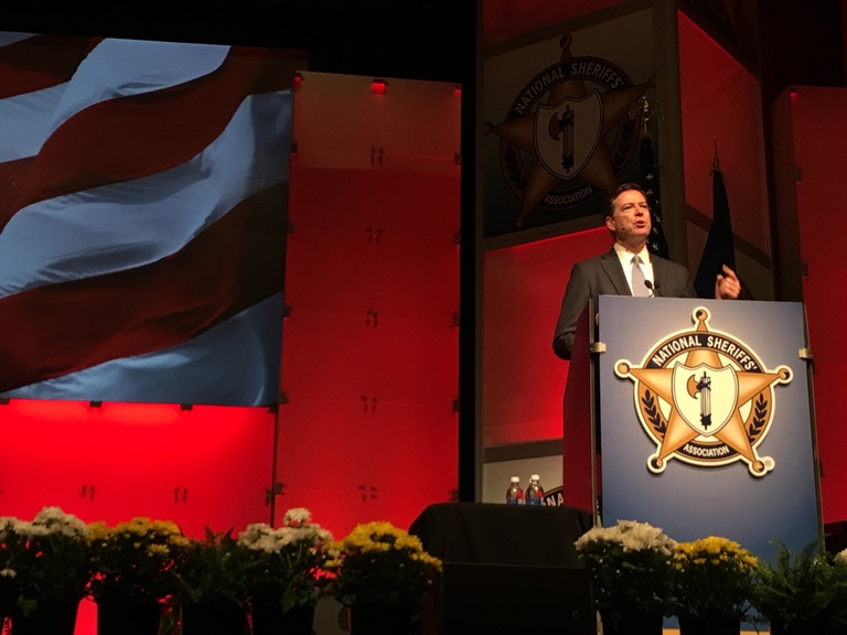 FBI Director James Comey speaks at the National Sheriffs' Association conference in Minneapolis on June 27, 2016.