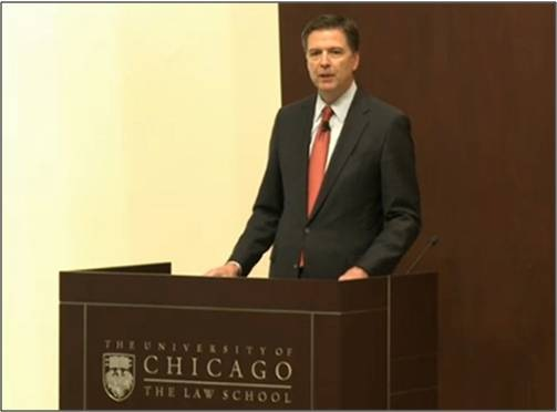 FBI Director James Comey speaks at the University of Chicago Law School on October 23, 2015, as part of his efforts to further the discussion on issues surrounding race and law enforcement.