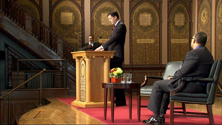 Director Comey addresses students and faculty at Georgetown University. Seated is Edward Montgomery, dean of the the university's McCourt School of Public Policy, which co-hosted the event.