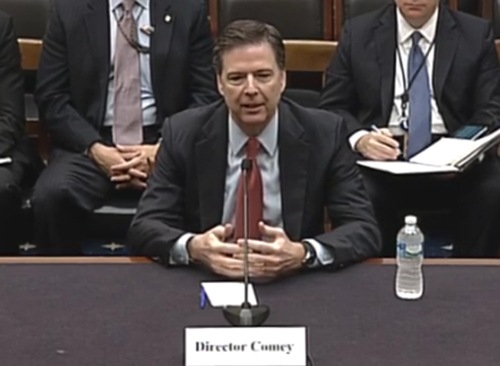 Director James Comey testifies before the House Judiciary Committee at a hearing on October 22, 2015.