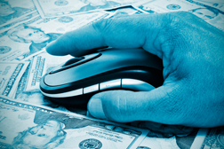 Hand on Computer Mouse Over Money