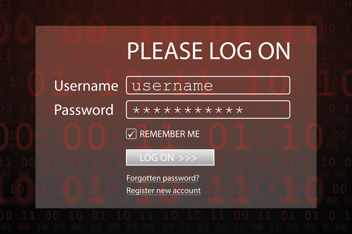 Stock image depicting a computer screen with username and password fields and a log on button.