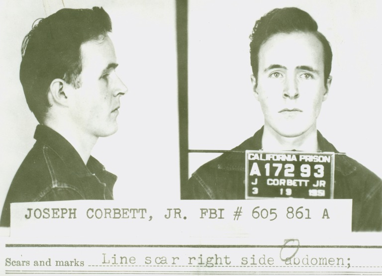 This March 19, 1951 mug shot was taken upon Joseph Corbett, Jr.'s incarceration at the California Institution for Men, in Chino, California, where he was sentenced to five years after pleading guilty to second-degree murder. He escaped from prison and committed the kidnapping and murder of Adolph Coors, III while a fugitive.