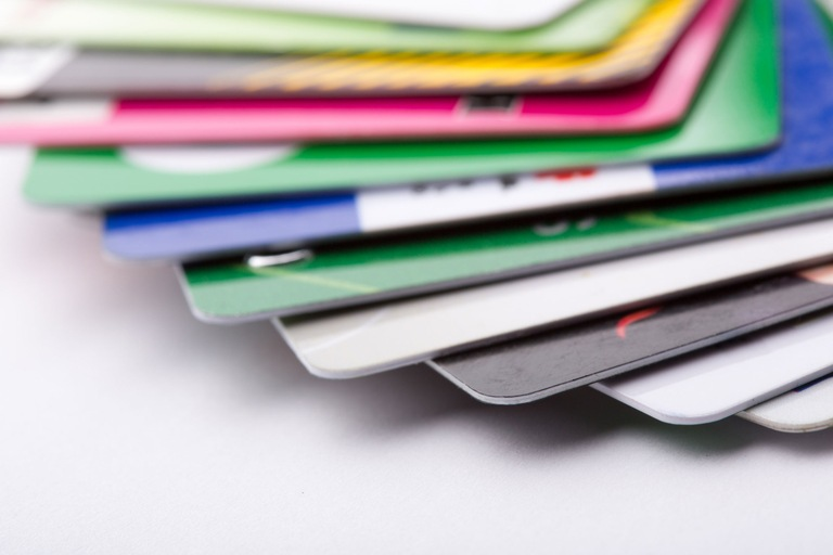 Stack of Fanned Out Credit Cards (Stock Image)
