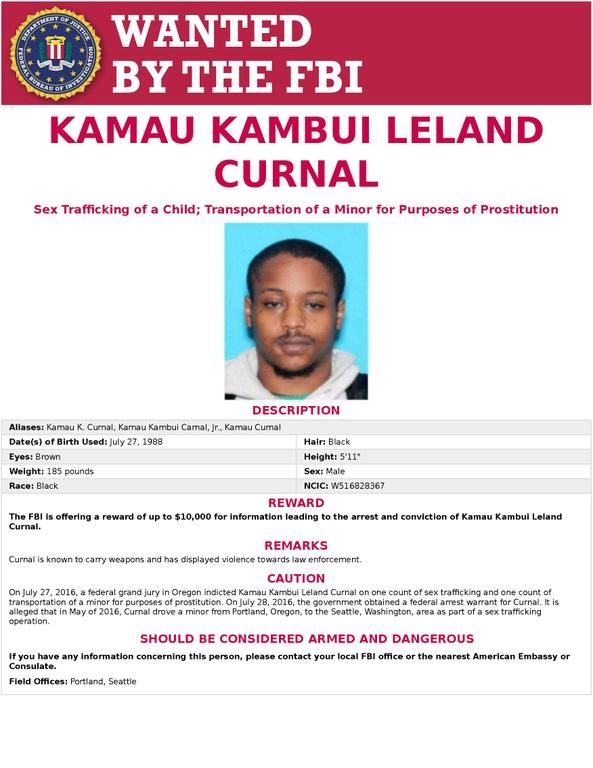 Kamau Kambui Leland Curnal Wanted Poster