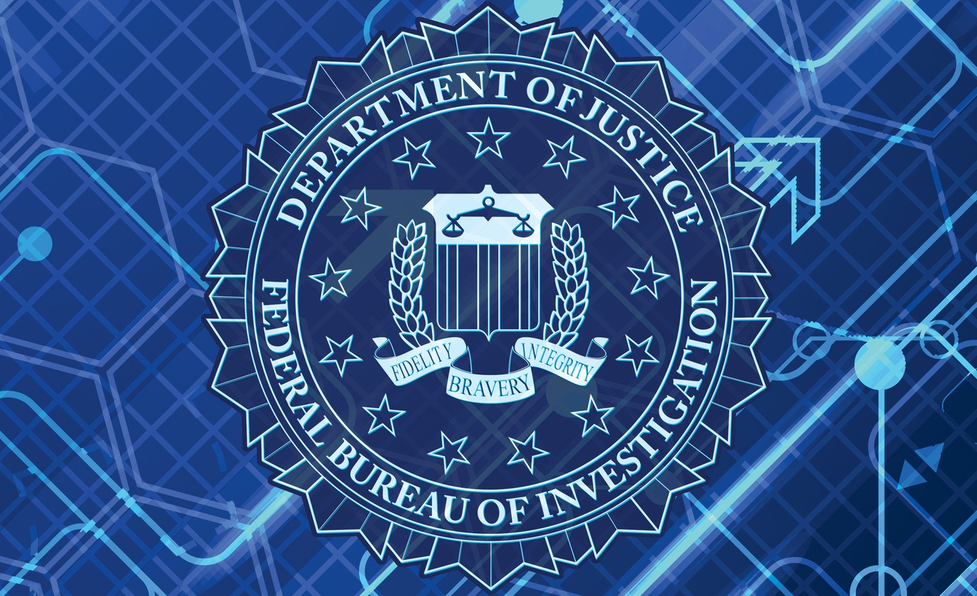 FBI seal on cyber background.