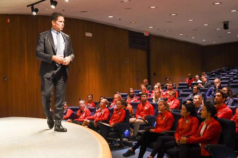 David Bowdich Speaks to Team USA at Career Information Session