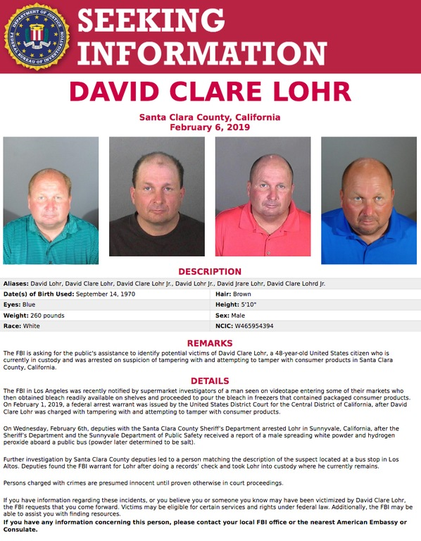 Screenshot of Seeking Information poster for David Clare Lohr, who was arrested for allegedly tampering with consumer products in California.