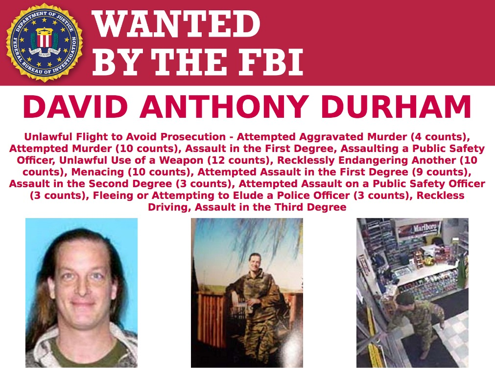 Screenshot of top portion of Wanted by the FBI poster for David Anthony Durham