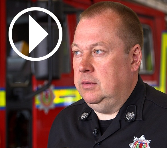 David Jardine, Scottish Fire and Rescue Service, with play video symbol overlay.