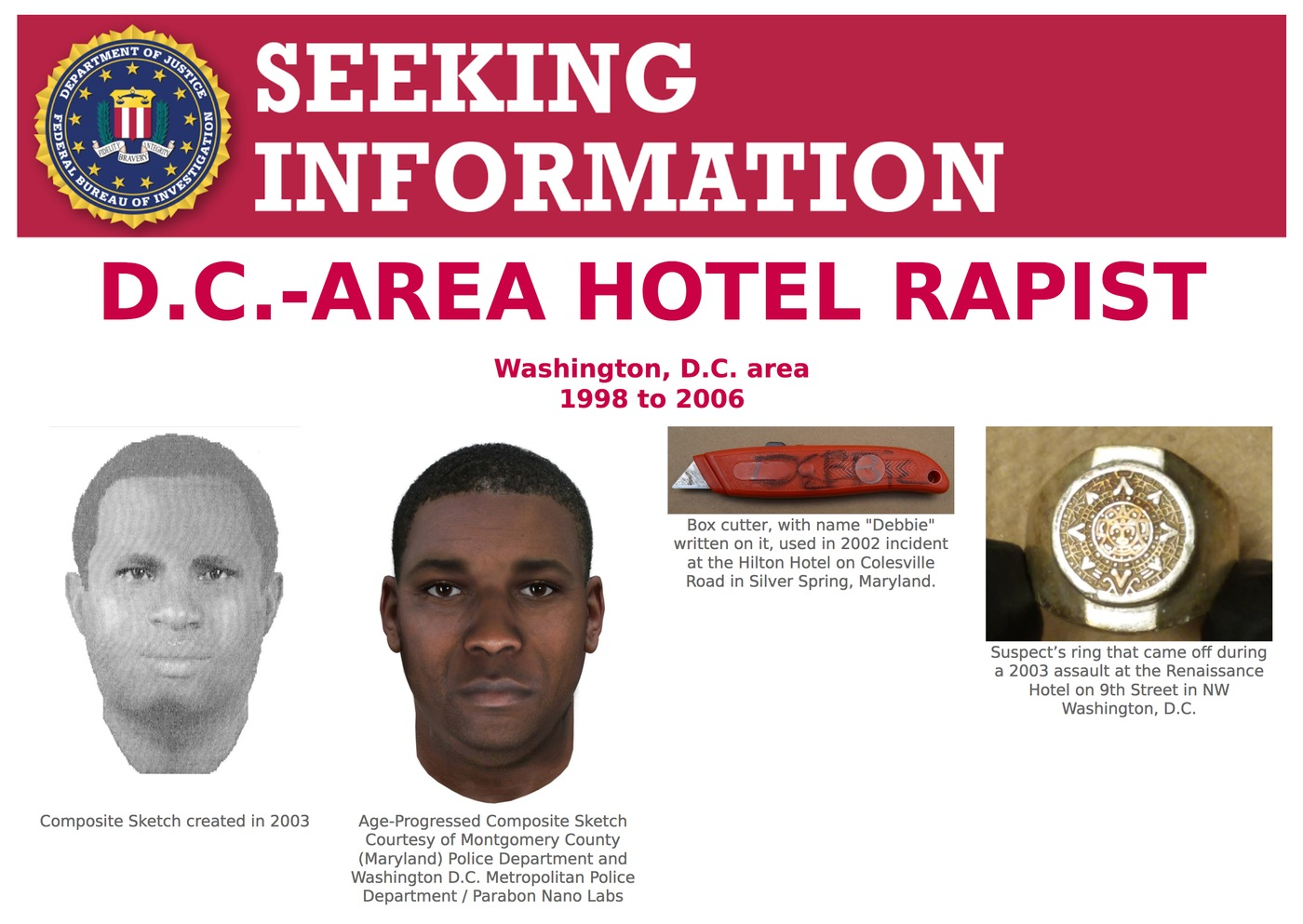 Screenshot of top portion of Seeking Information poster for the D.C.-Area Hotel Rapist.