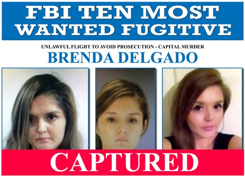 FBI Ten Most Wanted poster of Brenda Delgado with captured banner.